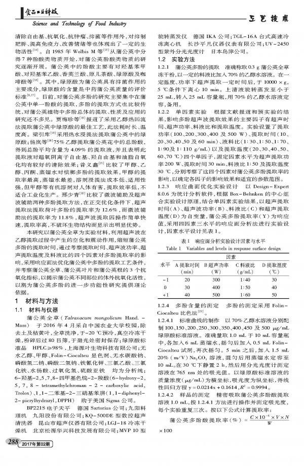 响应面优化蒲公英多酚超声波辅助乙醇提取工艺及其抗氧化性