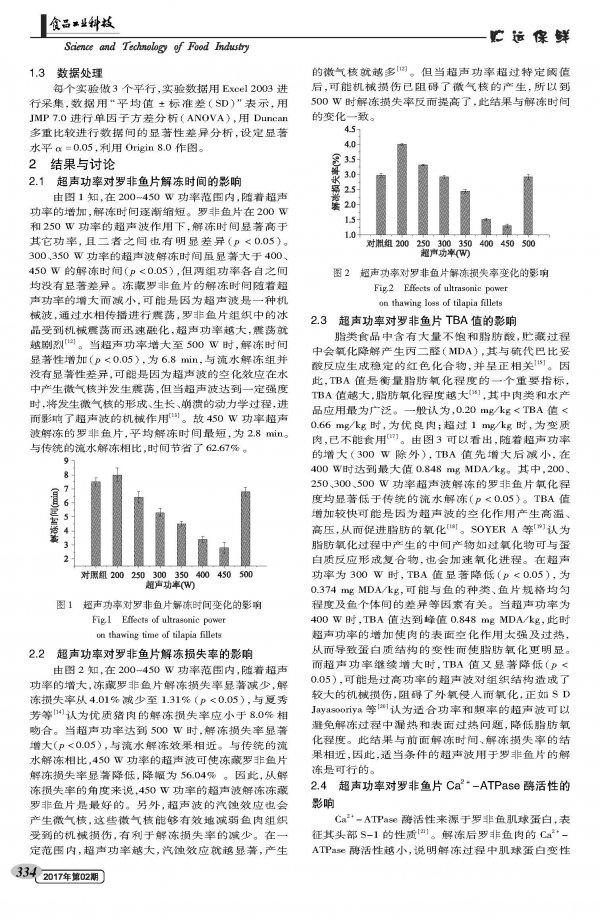 超声波解冻对壳聚糖涂膜罗非鱼片的水分分布及品质相关性研究